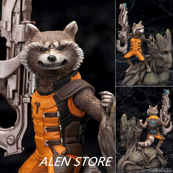 ALEN Guardians of the Galaxy Tree Man & Rocket Raccoon PVC Action Figure Collectible Model Toy 14CM цена