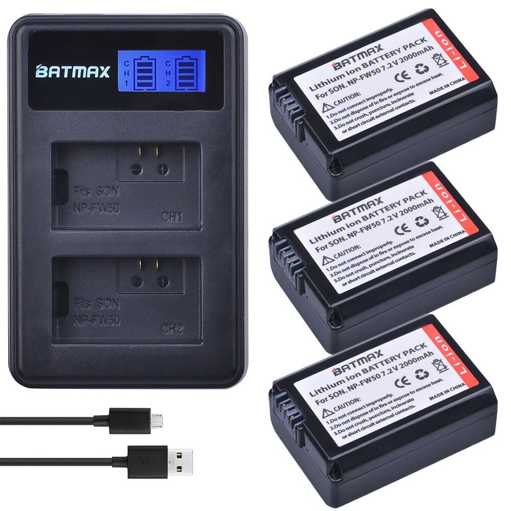 3 unids 2000 mAh NP-FW50 NP FW50 NPFW50 batería Akku + LCD cargador Dual para Sony Alpha a6500 a6300 a7 7R a7R a7R II a7II NEX-3 NEX-5