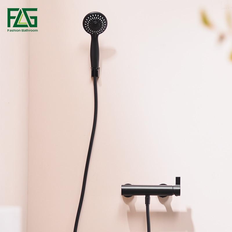 FLG Черный Ванная Комната Смесители для душа настенный ванна кран смесителя Роскошные латуни душ HS169-55B-01