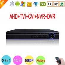 Blue-Ray Case Hi3520D 5 in 1 XMeye 4 Channel 4CH 1080P Surveillance Hybrid Coaxial Onvif NVR TVI CVI AHD CCTV DVR Free Shipping
