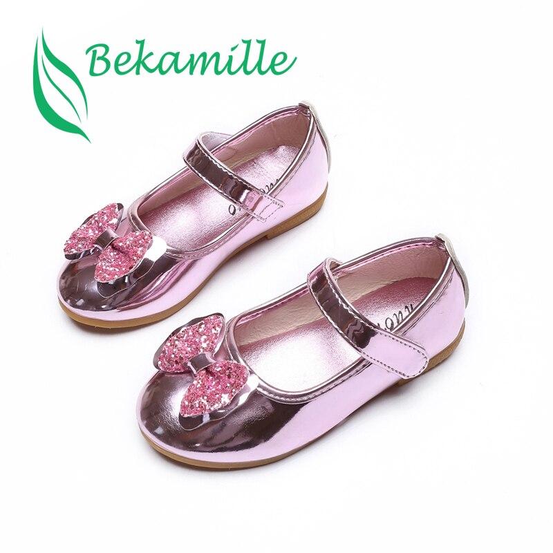 חדש קיץ סתיו ילדי נעלי בנות סנדלי פאייטים קשת נסיכת עור נעלי בנות נעליים יומיומיות נעלי ריקוד