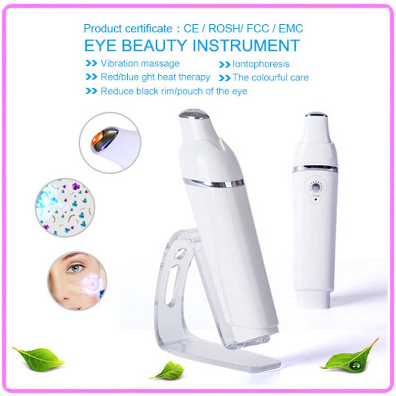 Anti Aging Electric Vibrating Infrared Heating Anion Import Face Eye Wrinkle Pouch Dark Circle Care Beauty Massager Roller Pen цена