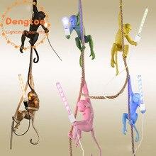 Лампа в форме обезьяны веревка подвесной светильник для столовой кухни белый скандинавский подвесной светильник домашний Декор Спальня Освещение светильники