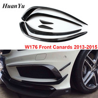 6pcs/Set Carbon Fiber W176 Front Bumper Canards Spliter for Mercedes benz A class 2013 2015 Sport Edition AMG A160 A180 A45