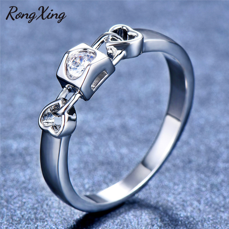 RongXing Vintage Hollow Double Heart White Zircon Rings for Women 925  Sterling Silver Filled Birthstone Ring dbe4f57946a0