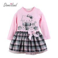 2018 New Fashion Brand Domeilan Children Clothes Print Cute Cartoon Cotton Floral Cat Princess Dress Girl