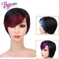 Bybrana Short Straight Human Hair Wigs Women's Omber Style Full Head Wig Non Remy Hair Brazilian Human Wigs Black Color