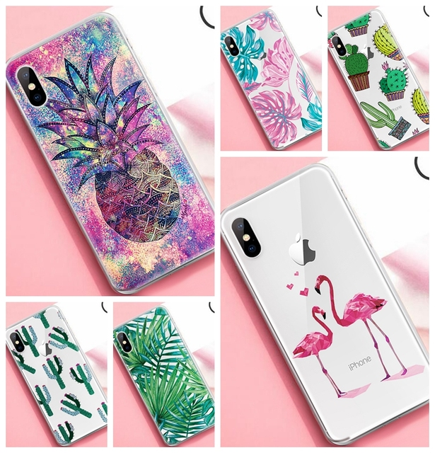 wholesale dealer 963c4 5c058 Trendy Cute Cactus Pineapple Patterned Case For iPhone X XS Max XR 7 8 6 6S  Plus 5 S 5S SE 4 4S Ultra Thin TPU Cover Phone Cases