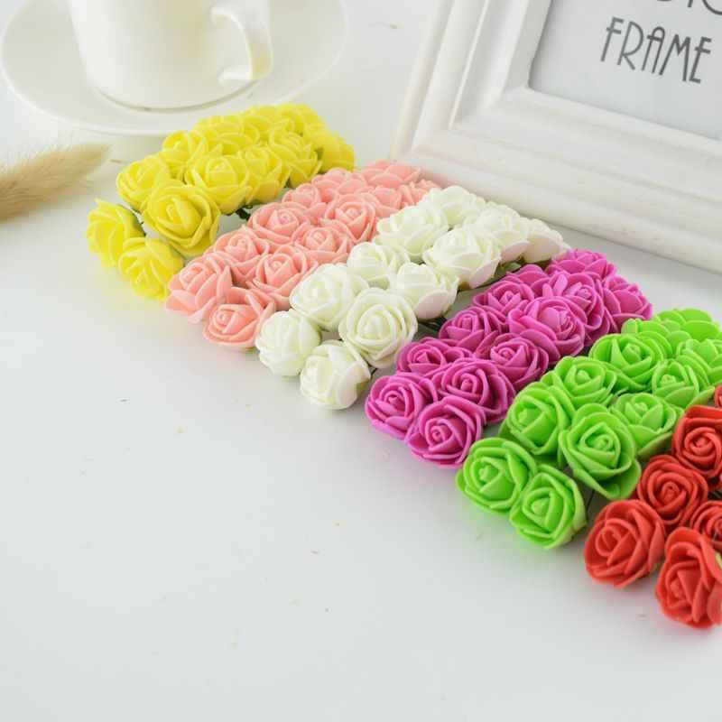 12 ピースミニ泡ローズ人工花ホーム結婚式の車の装飾 DIY ポンポン花輪装飾ブライダル造花