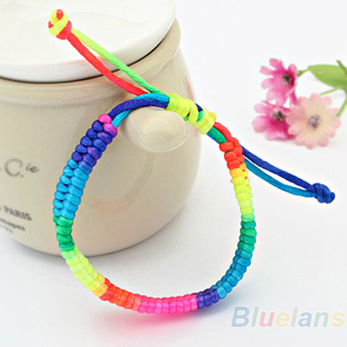 Adjsutable Women's Nightclub Favorite Korean Style Fashion Rainbow Fluorescent Colors Woven Bracelet 007H