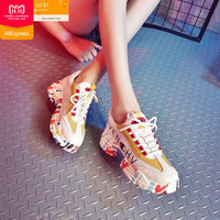 2018 Winter White Sneakers Women Platform Sneakers Casual Suede Leather Sneakers Lace up Women Flats Shoes Mesh Trainers Femme