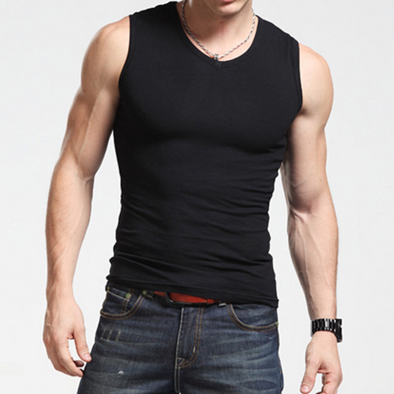 Summer Men Vest Sleeveless Solid Color Slim Fitness Tights Tops Man  Fintess Tank Tops H9