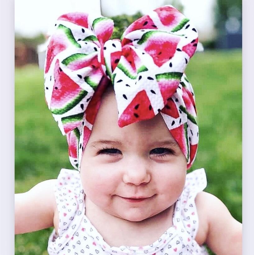 20pcs large Bow Headbands floral rainbow Hair Bows girls Elastic Turban Head Wraps Kids Top Knot Hairband DIY Hair Accessories