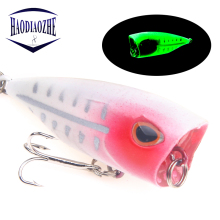 Купить с кэшбэком Popper Fishing Lures 4m 3g Artificial Floating Fishing Hard Crank Bait 3D Eye Wobblers Luminous Bass Pike Crankbaits Tackle