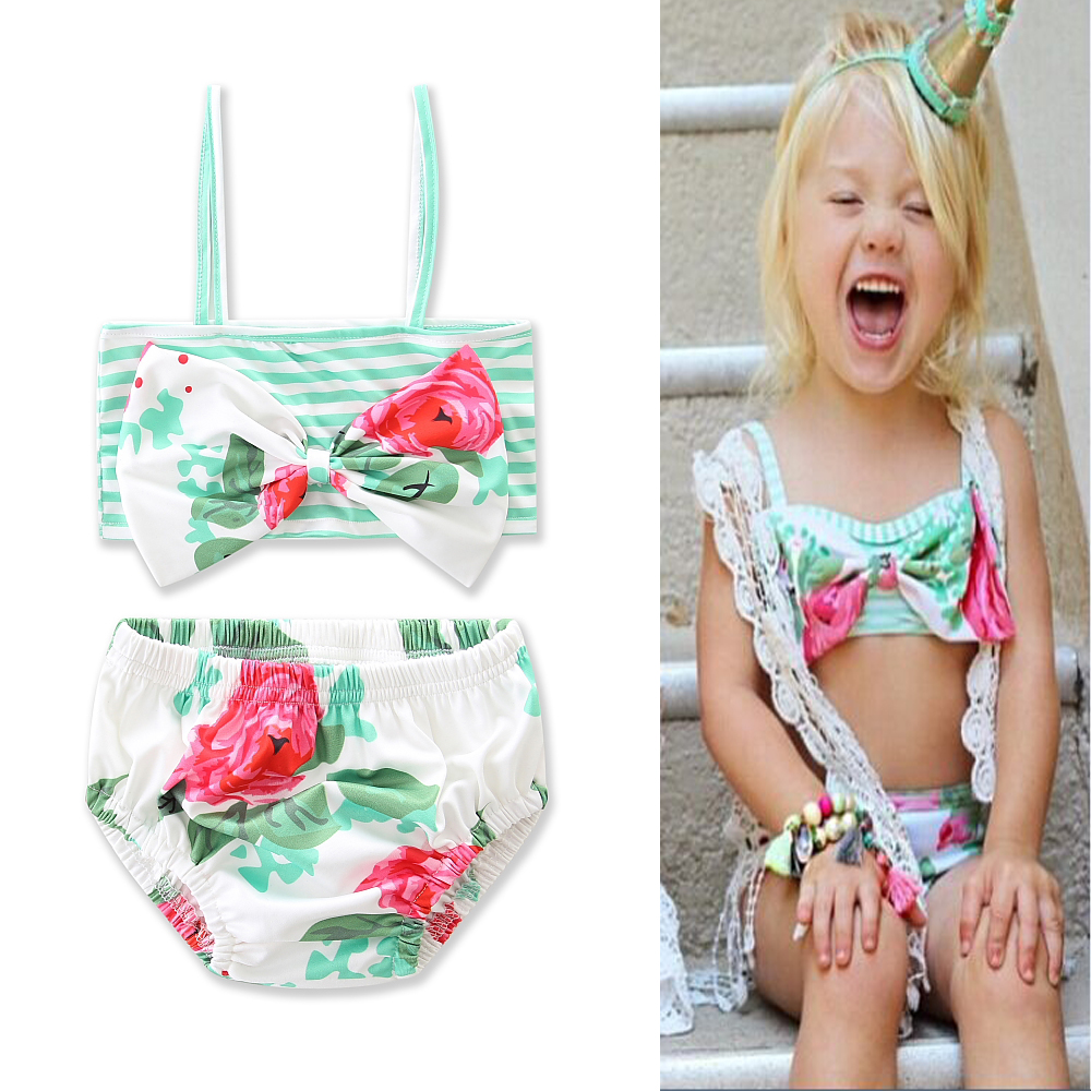 Summer Beach Party Girls Clothes Swimming Pool Clothes Condole Belt Stripe Bowknot Top+triangle Shorts Sunbathing Costume 1-6Y
