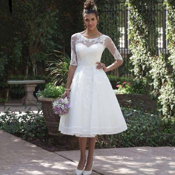 vestido de noiva curto 2019 New Fashion Sheer Scoop Half Sleeve Knee Length Short Wedding Dress Cheap Lace Appliques Bridal Gown