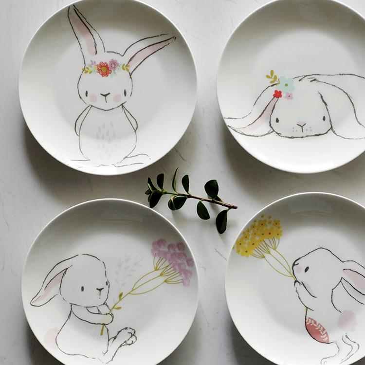 Little Rabbit 6 5 Inch Cake Dessert Plate Disc Ceramic