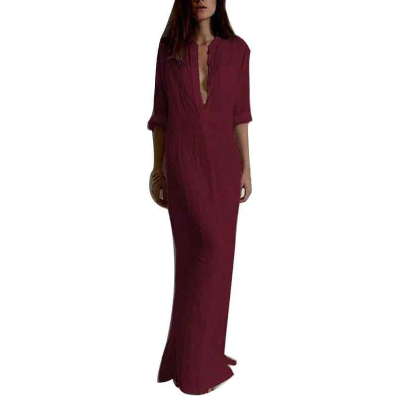 新ファッション 2017 女性のセクシーなカジュアル長袖 V ネックソリッドロングマキシドレス vestido ロンゴボヘミアン自由奔放に生きるビーチドレスローブ