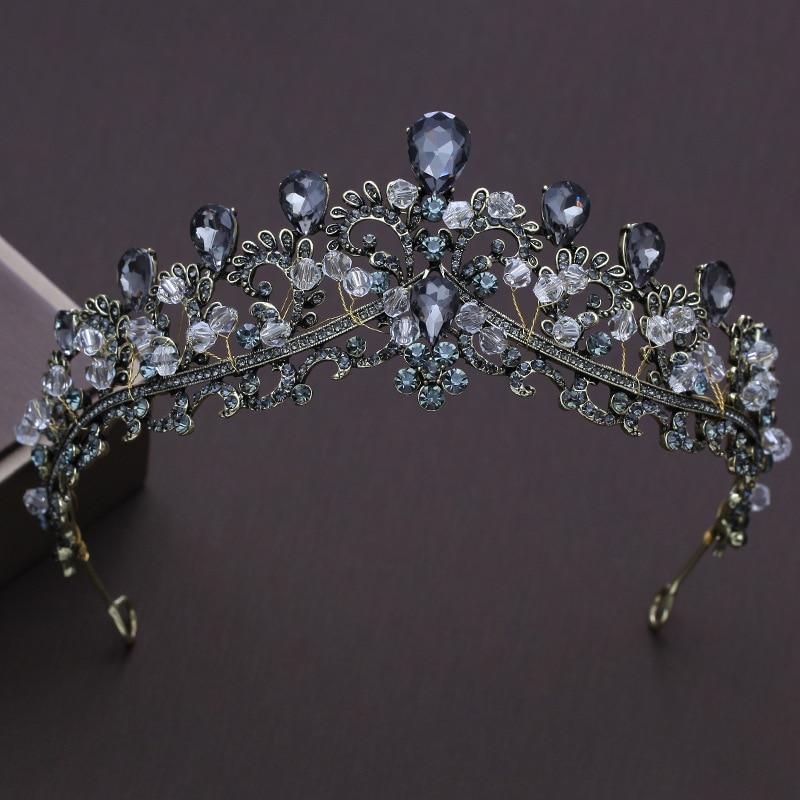 Vintage Baroque Handmade Bride Wedding Hair Jewelry Black Crystal Rhinestones Tiaras Bridal Crown Prom Veil Tiara Headband