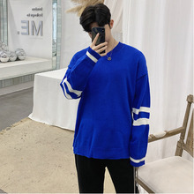 Autumn New Sweater Men Fashion Solid Color Casual V-neck Sweater Man Streetwear Wild Loose Warm Pullover Male Clothes M-2XL