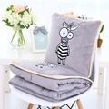 Manta de felpa 1 unid 150 cm cebra de dibujos animados elefante jirafa león mono suave oficina resto cojín de peluche de regalo creativo para el bebé