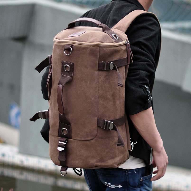Men's Multi-Functional Backpack Vintage Shoulder Bag High Quality Canvas Male Bagpack Rucksack Travel Luggage for Weekend 6
