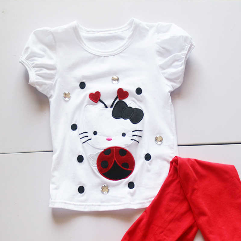 girl puff sleeve T-shirt, short sleeve summer T-shirts,pattern  shirts for children girl