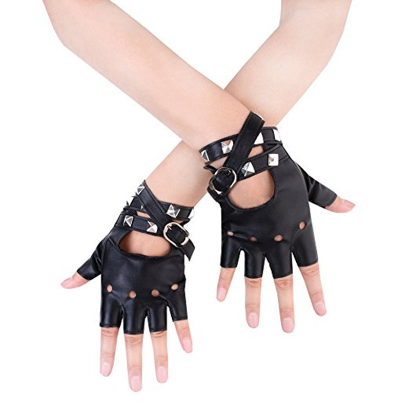 2018 Rushed Sale Solid Wrist Adult Eldiven Winter Gloves Women Punk Rivets Belt Up Half Finger Pu Leather Performance Gloves