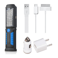 New USB Charging 36 5 LED Flashlight Work Light Magnetic HOOK Mobile Power With Car Charger