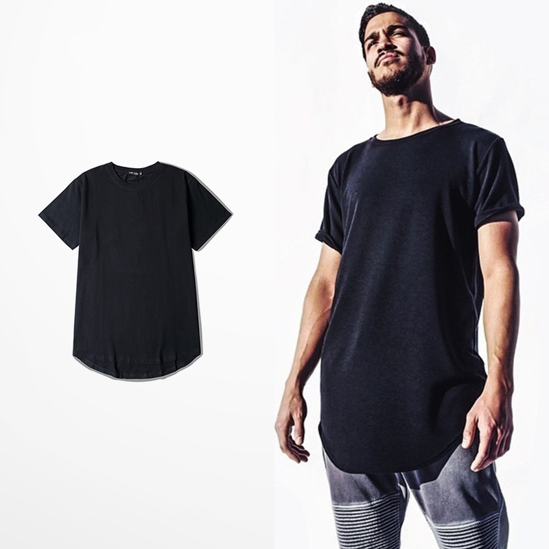 Kanye West T shirt Men Arc-shaped Hem Front Short Back Long Summer Cotton  tshirt Homme Plus Size S-XXXL 2017 Hip hop amy0311 68b5b2b5db9