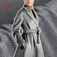 Американский стиль серый воды пульсация шелк кашемировая шерсть ткань для зимняя куртка толстые шерстяные tissu ткань telas Tecidos stoffen sp4599