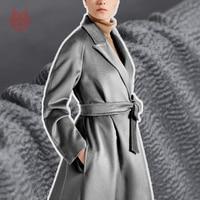 American style grey water ripple silk cashmere wool fabric for winter coat thick woolen tissu cloth telas tecidos stoffen SP4599