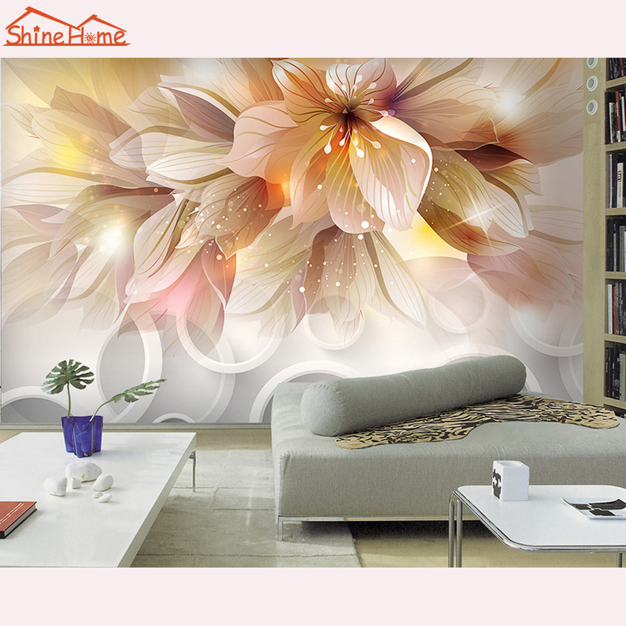 flower wallpaper for livingroom promotion shop for promotional large flower blossom floral 3d room modern wallpaper for walls 3d livingroom wall paper mural rolls household papel de parede