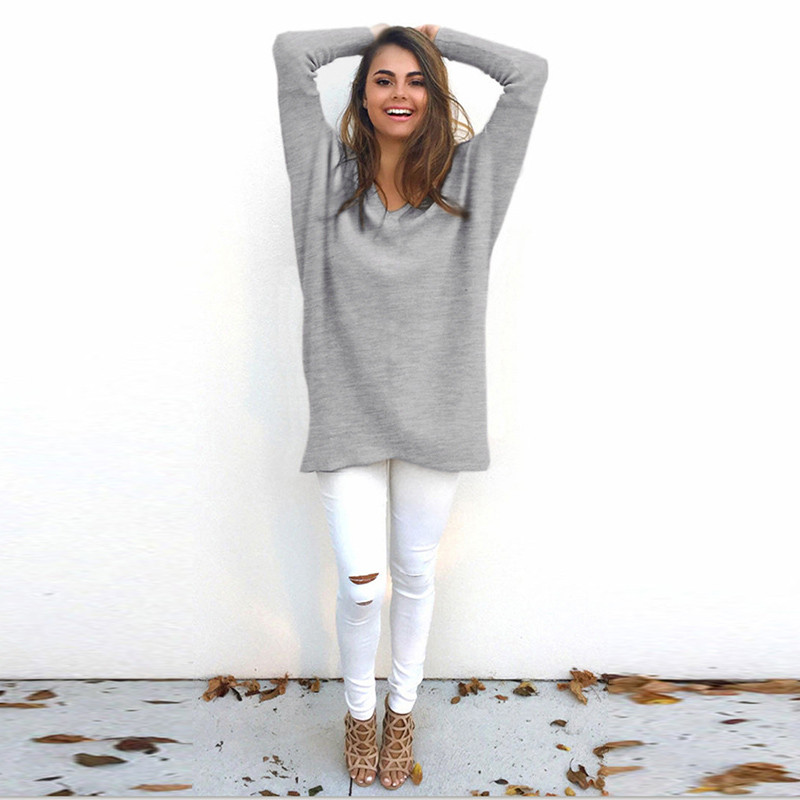 Autumn Long Sleeve V Neck Pullovers Women Sweaters Casual Loose Long Sweater Women Thin Pullovers For Female XXL
