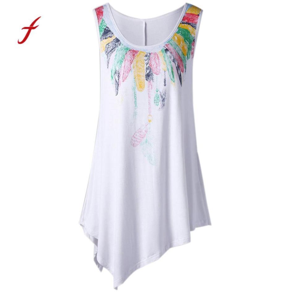 Women Loose Plus Size Feather Print Asymmetric Sleeveless Tunic Vest Tank Top Female Large Harajuku Camis Shirts Casual Clothes