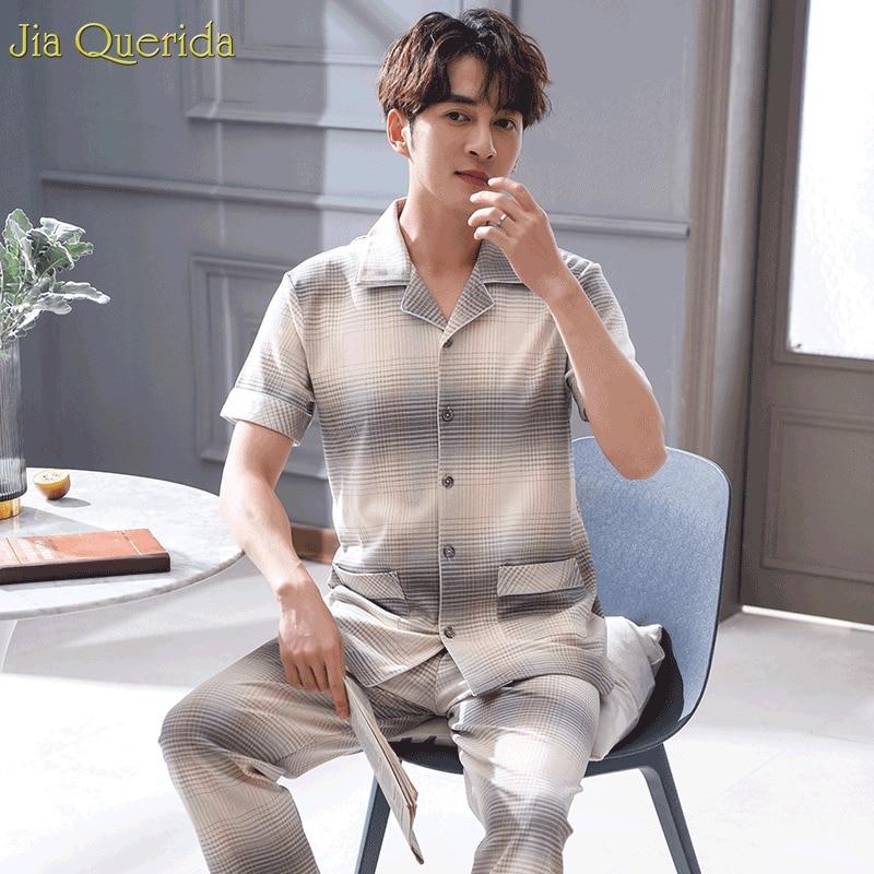 Men Pijamas Big Size Xxxl Pajamas Men Short Sleeve Long Pants Pyjamas Men 100% Pure Cotton Chinese Pajamas Mens Home Suit Cotton