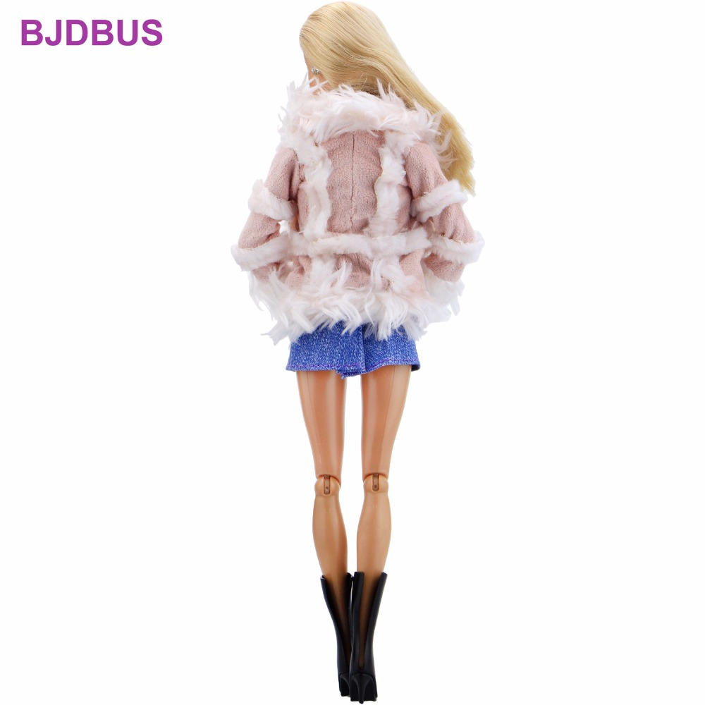 68706ae1ff46 Fashion Winter Outfit Pink Fur Coat Tops Denim Skirt Rainbow Scarf Boots  Shoes Clothes For Barbie. sku: 32852852152