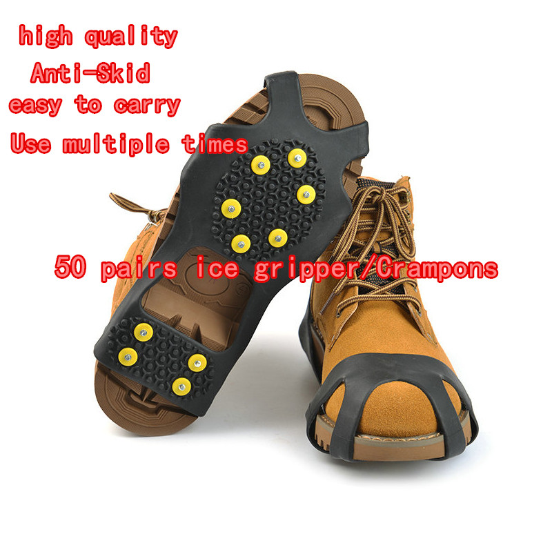 Ice Climbing Shoe Crampons Cleats Spikes-Grips Snow Studs Anti-Skid XL 50pair-10 Safety