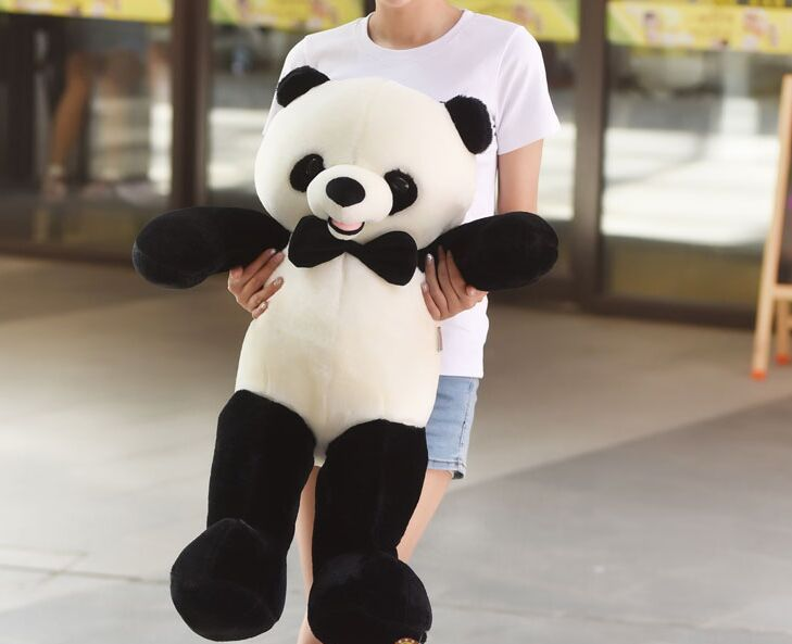 middle lovely soft plush panda toy high quality bow panda doll gift about 80cm 2707 lovely panda in green 70cm plush toy glasses panda doll soft pillow christmas birthday gift x035