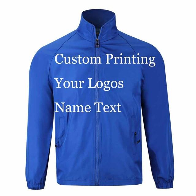 Custom Jacket Windbreaker DIY Print Embroidery LOGO Design Photos Thin Wind proof Coat Jackets Advertisement Company Service