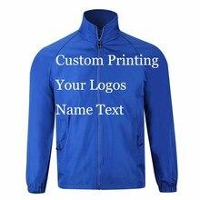 Customเสื้อWindbreaker DIYพิมพ์เย็บปักถักร้อยออกแบบโลโก้รูปภาพลมบางProof Coatแจ็คเก็ตโฆษณาบริษัทบริการ