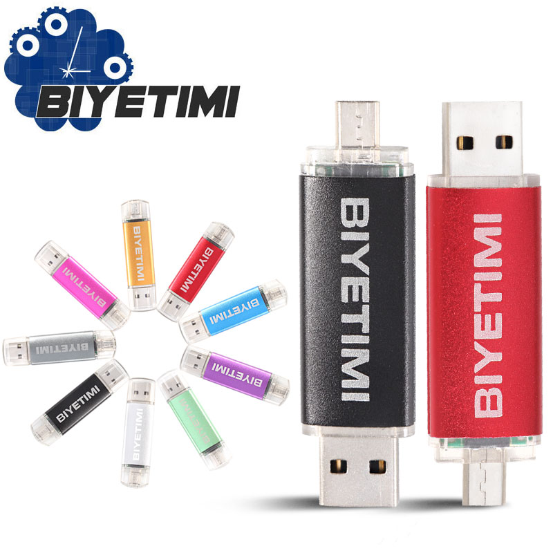 BIYETIMI Corlorful OTG Usb Flash Drive 8GB 16GB 32GB 64GB Memory Usb Stick 2.0 Pen Drive Pendrive Flash Drive For Smart Phone