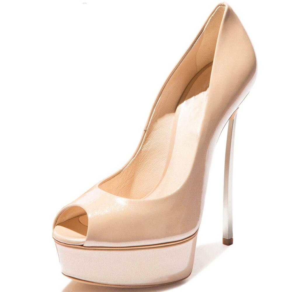 Оригинальные женские туфли лодочки на тонком высоком каблуке, из лакированной кожи, с открытым носком, на платформе, Офисная Женская обувь т