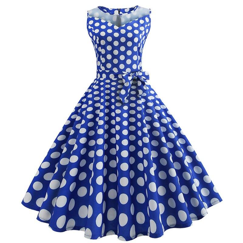 Retro letné párty šaty 1950 s bodkami Swing style (8 variánt) 18