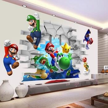 Super Mario Bros Kids Removable Wall Sticker Decals Nursery Home Decor Vinyl Mural For Boy Bedroom
