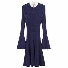 Kenvy модные брендовые женские высокого класса люкс осень алмаз тонкий длинными рукавами вязаное платье