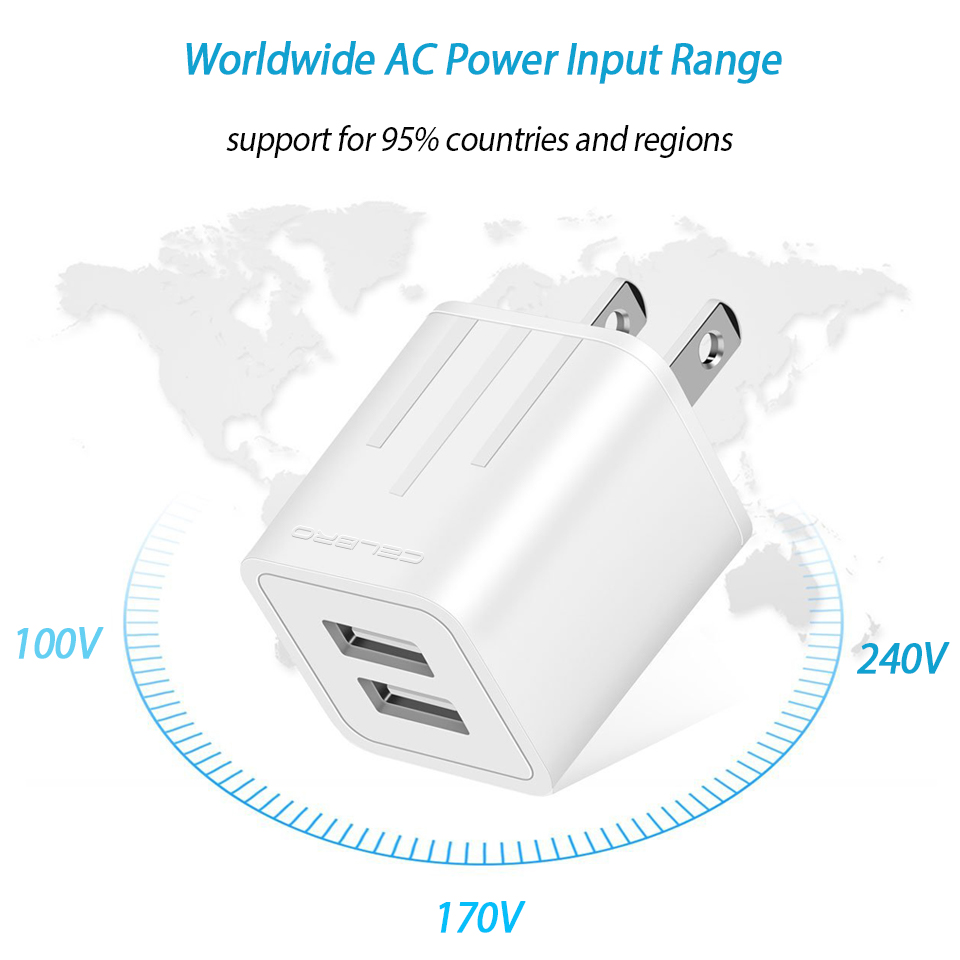 2.1A Dual Port USB Charger Plug for Apple iPhone iPad Mini 2 3 4 Air 2 Airpods 12W Original Small USB Wall Charger US Plug 2A 1A 10