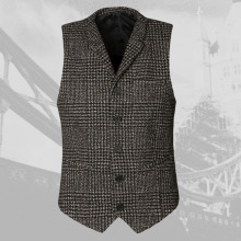 2017 Men new winter retro plaid slim lapel woolen vest slim Mens England style vintage suit vest fashion brand design waistcoat(China)
