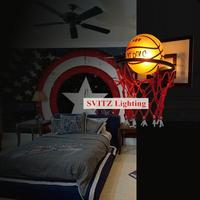 European Style Retro Bedroom Bedside Lamp American Country Iron Wall Of The Basketball Lamp Lamp For Stairs Aisle Lighting