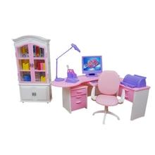 Для Барби мебель для дома и офиса с книжным шкафом Настольная компьютерная лампа принтер Телефон Аксессуары для куклы Monster High